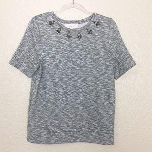 EUC LOFT grey embellished neck sweatshirt tee